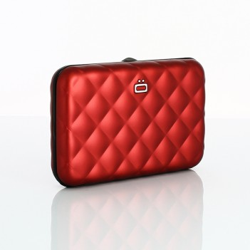 QUILTED BUTTON WALLET - RED